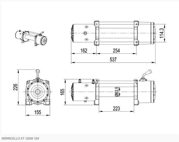 VERRICELLO XT 12000 12V SCS4X4 cavo acciaio