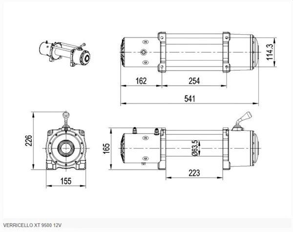 VERRICELLO XT 9500 12V SCS4X4 cavo in acciaio